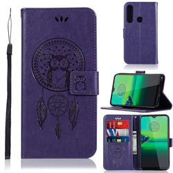 Intricate Embossing Owl Campanula Leather Wallet Case for Motorola Moto G8 Play - Purple
