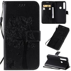 Embossing Butterfly Tree Leather Wallet Case for Motorola Moto G8 Play - Black