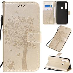 Embossing Butterfly Tree Leather Wallet Case for Motorola Moto G8 Play - Champagne
