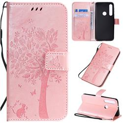 Embossing Butterfly Tree Leather Wallet Case for Motorola Moto G8 Play - Rose Pink