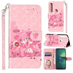 Pink Bear 3D Leather Phone Holster Wallet Case for Motorola Moto G8 Play