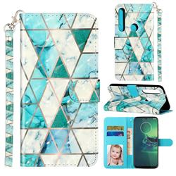 Stitching Marble 3D Leather Phone Holster Wallet Case for Motorola Moto G8 Play
