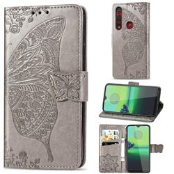 Embossing Mandala Flower Butterfly Leather Wallet Case for Motorola Moto G8 Play - Gray