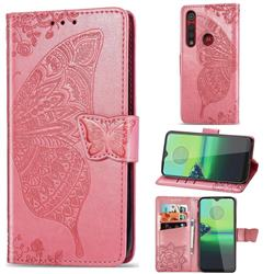 Embossing Mandala Flower Butterfly Leather Wallet Case for Motorola Moto G8 Play - Pink