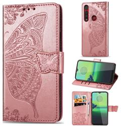 Embossing Mandala Flower Butterfly Leather Wallet Case for Motorola Moto G8 Play - Rose Gold