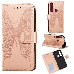 Intricate Embossing Vivid Butterfly Leather Wallet Case for Motorola Moto G8 Play - Rose Gold