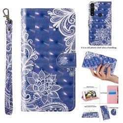 White Lace 3D Painted Leather Wallet Case for Motorola Moto G8 Play