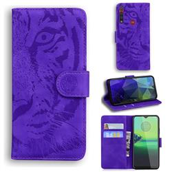 Intricate Embossing Tiger Face Leather Wallet Case for Motorola Moto G8 Play - Purple