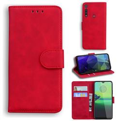Retro Classic Skin Feel Leather Wallet Phone Case for Motorola Moto G8 Play - Red