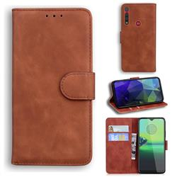 Retro Classic Skin Feel Leather Wallet Phone Case for Motorola Moto G8 Play - Brown