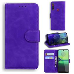 Retro Classic Skin Feel Leather Wallet Phone Case for Motorola Moto G8 Play - Purple