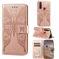 Intricate Embossing Rose Flower Butterfly Leather Wallet Case for Motorola Moto G8 Play - Rose Gold