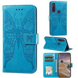 Intricate Embossing Rose Flower Butterfly Leather Wallet Case for Motorola Moto G8 Play - Blue
