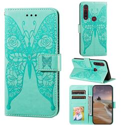 Intricate Embossing Rose Flower Butterfly Leather Wallet Case for Motorola Moto G8 Play - Green