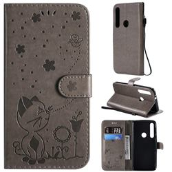 Embossing Bee and Cat Leather Wallet Case for Motorola Moto G8 Play - Gray