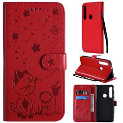 Embossing Bee and Cat Leather Wallet Case for Motorola Moto G8 Play - Red