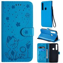 Embossing Bee and Cat Leather Wallet Case for Motorola Moto G8 Play - Blue