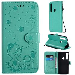 Embossing Bee and Cat Leather Wallet Case for Motorola Moto G8 Play - Green