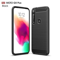 Luxury Carbon Fiber Brushed Wire Drawing Silicone TPU Back Cover for Motorola Moto G8 Plus - Black