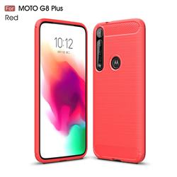 Luxury Carbon Fiber Brushed Wire Drawing Silicone TPU Back Cover for Motorola Moto G8 Plus - Red