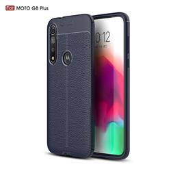 Luxury Auto Focus Litchi Texture Silicone TPU Back Cover for Motorola Moto G8 Plus - Dark Blue