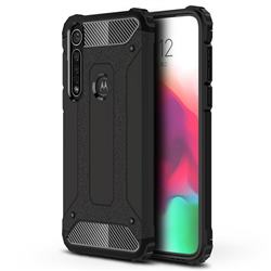 King Kong Armor Premium Shockproof Dual Layer Rugged Hard Cover for Motorola Moto G8 Plus - Black Gold