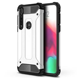 King Kong Armor Premium Shockproof Dual Layer Rugged Hard Cover for Motorola Moto G8 Plus - White