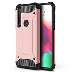 King Kong Armor Premium Shockproof Dual Layer Rugged Hard Cover for Motorola Moto G8 Plus - Rose Gold