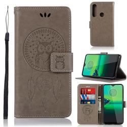 Intricate Embossing Owl Campanula Leather Wallet Case for Motorola Moto G8 Plus - Grey