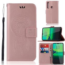 Intricate Embossing Owl Campanula Leather Wallet Case for Motorola Moto G8 Plus - Rose Gold