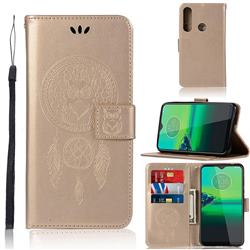 Intricate Embossing Owl Campanula Leather Wallet Case for Motorola Moto G8 Plus - Champagne