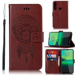 Intricate Embossing Owl Campanula Leather Wallet Case for Motorola Moto G8 Plus - Brown