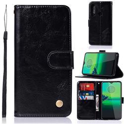 Luxury Retro Leather Wallet Case for Motorola Moto G8 Plus - Black