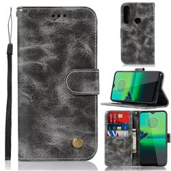 Luxury Retro Leather Wallet Case for Motorola Moto G8 Plus - Gray