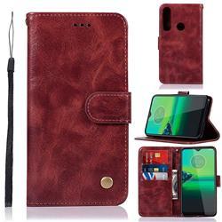 Luxury Retro Leather Wallet Case for Motorola Moto G8 Plus - Wine Red