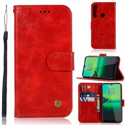 Luxury Retro Leather Wallet Case for Motorola Moto G8 Plus - Red