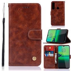 Luxury Retro Leather Wallet Case for Motorola Moto G8 Plus - Brown
