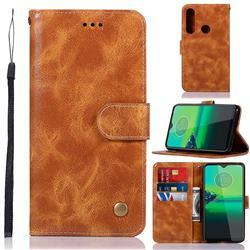 Luxury Retro Leather Wallet Case for Motorola Moto G8 Plus - Golden