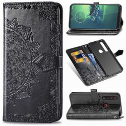 Embossing Imprint Mandala Flower Leather Wallet Case for Motorola Moto G8 Plus - Black