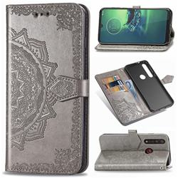 Embossing Imprint Mandala Flower Leather Wallet Case for Motorola Moto G8 Plus - Gray