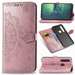 Embossing Imprint Mandala Flower Leather Wallet Case for Motorola Moto G8 Plus - Rose Gold