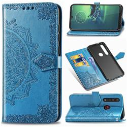 Embossing Imprint Mandala Flower Leather Wallet Case for Motorola Moto G8 Plus - Blue