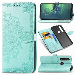 Embossing Imprint Mandala Flower Leather Wallet Case for Motorola Moto G8 Plus - Green