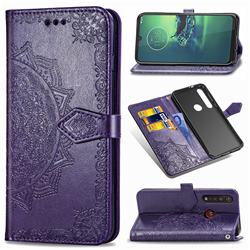 Embossing Imprint Mandala Flower Leather Wallet Case for Motorola Moto G8 Plus - Purple