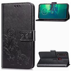 Embossing Imprint Four-Leaf Clover Leather Wallet Case for Motorola Moto G8 Plus - Black