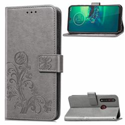 Embossing Imprint Four-Leaf Clover Leather Wallet Case for Motorola Moto G8 Plus - Grey