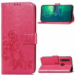 Embossing Imprint Four-Leaf Clover Leather Wallet Case for Motorola Moto G8 Plus - Rose