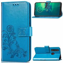 Embossing Imprint Four-Leaf Clover Leather Wallet Case for Motorola Moto G8 Plus - Blue