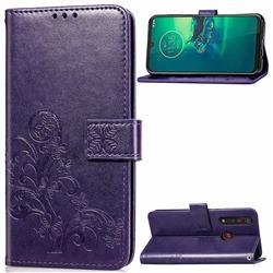 Embossing Imprint Four-Leaf Clover Leather Wallet Case for Motorola Moto G8 Plus - Purple