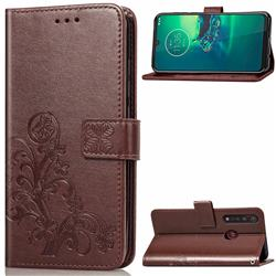 Embossing Imprint Four-Leaf Clover Leather Wallet Case for Motorola Moto G8 Plus - Brown